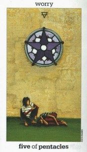 Lá Five of Pentacles - Sun and Moon Tarot