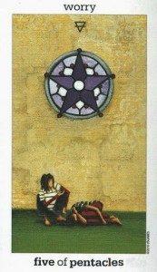 Lá Five of Pentacles - Sun and Moon Tarot