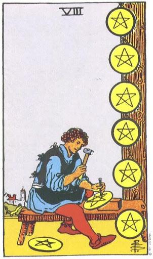 Ý Nghĩa Biểu Tượng 78 Lá Bài Tarot – Eight of Pentacles