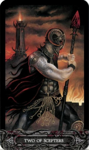 Lá Bài Two of Scepters - Tarot of Vampyres